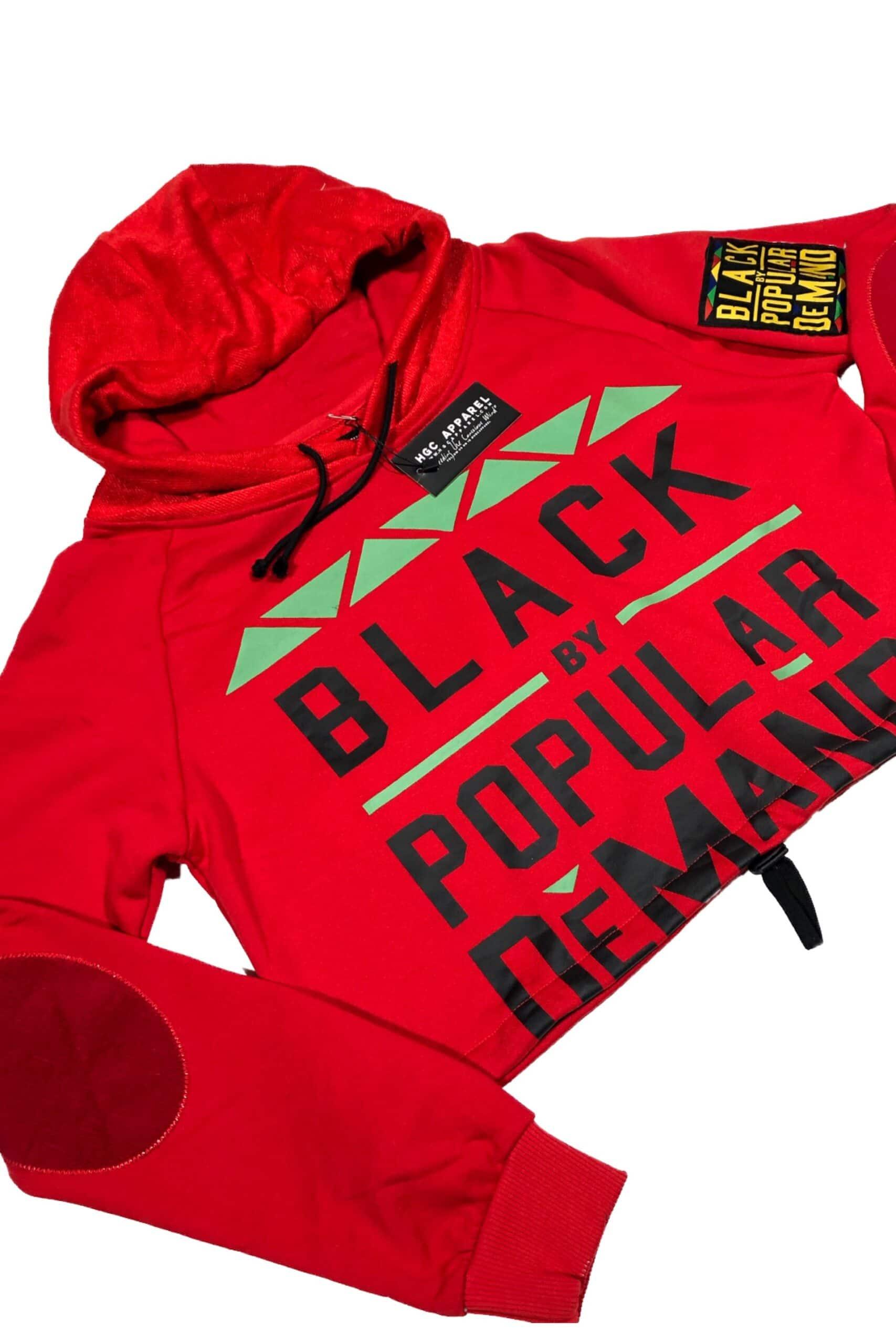 Black by Popular Demand® Red Women's Crop Hoodie Sweatshirt HGC Apparel