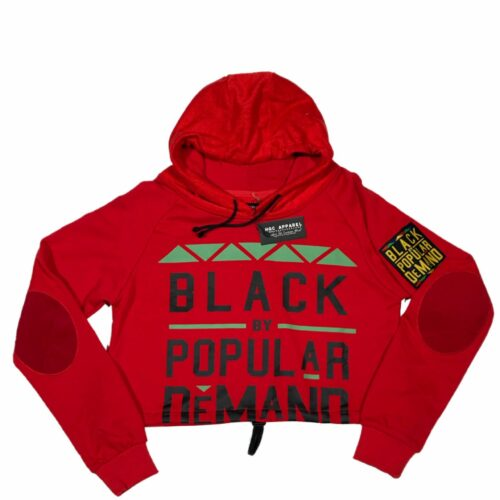 Black by Popular Demand® Red Women's Crop Hoodie Sweatshirt HGC Apparel