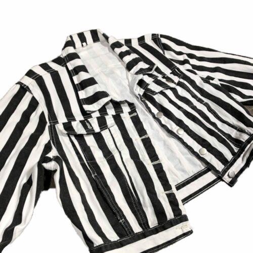 Black By Popular Demand® Women's Striped Jean Jacket HGC Apparel