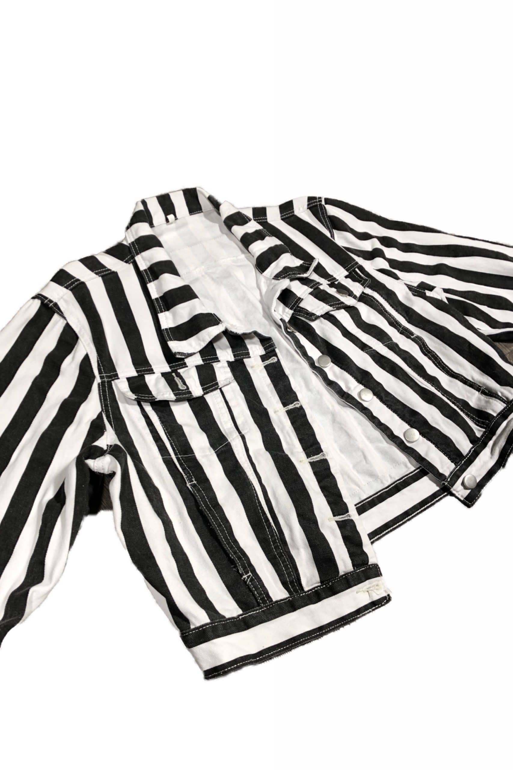 Black By Popular Demand® Women's Striped Jean Jacket HGC Apparel