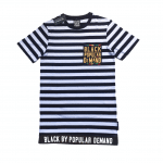 Black by Popular Demand® Unisex Striped Deluxe Black Pocket Shirt