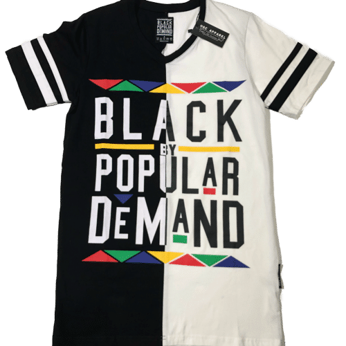 Black by Popular Demand® Unisex White & Black Split V-Neck Shirt HGC Apparel