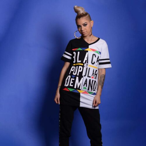 Black by Popular Demand® Unisex White & Black Split V-Neck Shirt HGC Apparel