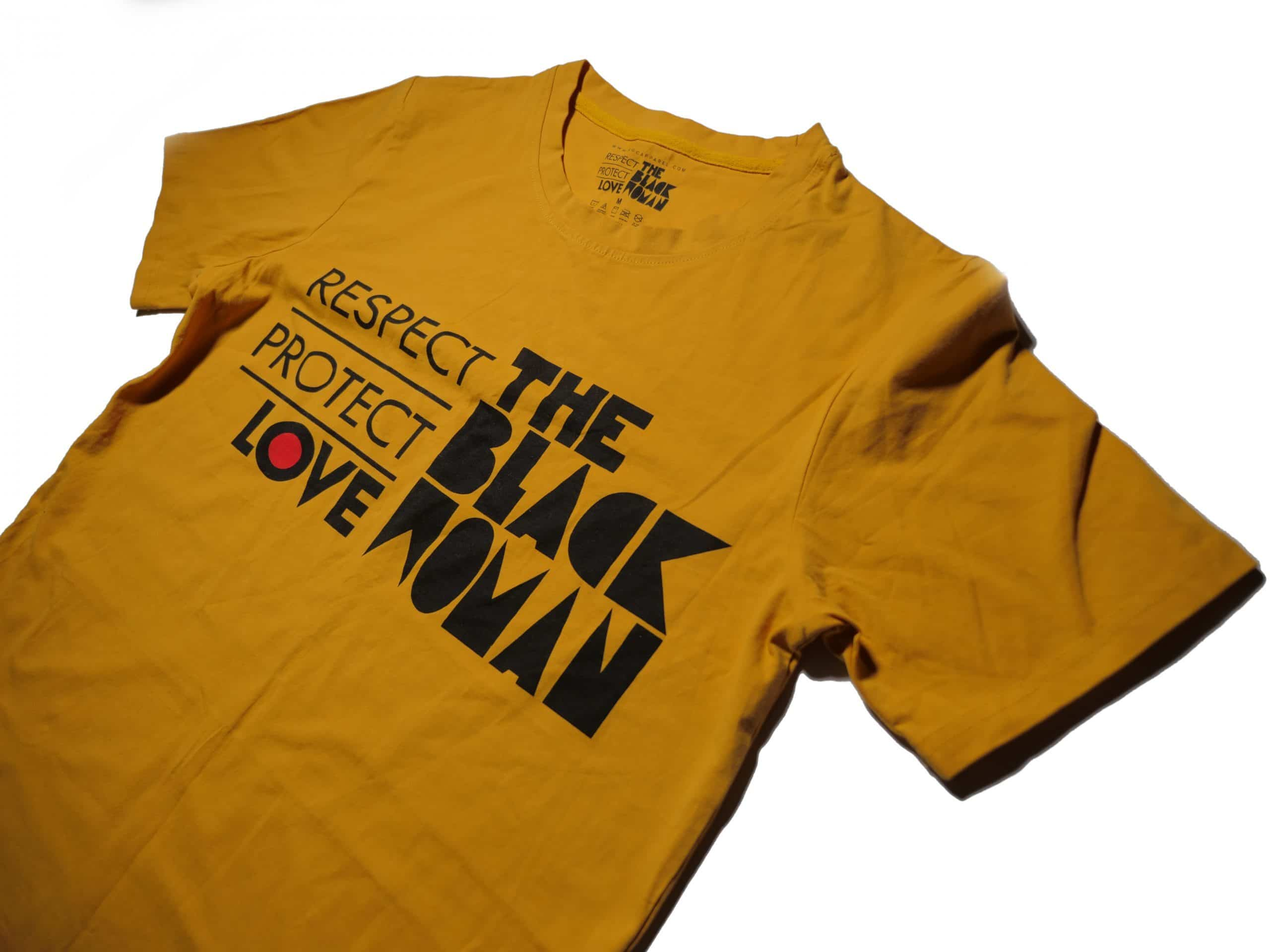Respect Protect Love The Black Woman® Yellow Unisex Shirt HGC Apparel
