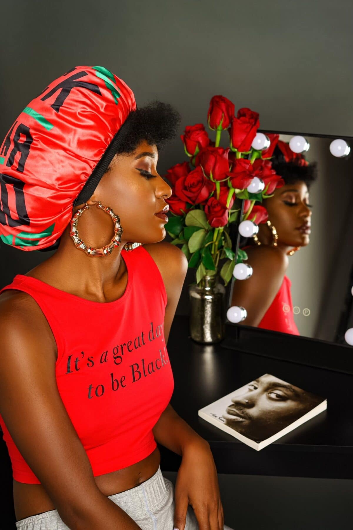 It's A Great Day To Be Black® Women's Red Crop Tank HGC Apparel