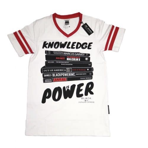 KNOWLEDGE IS POWER® White Unisex V-Neck Shirt HGC Apparel