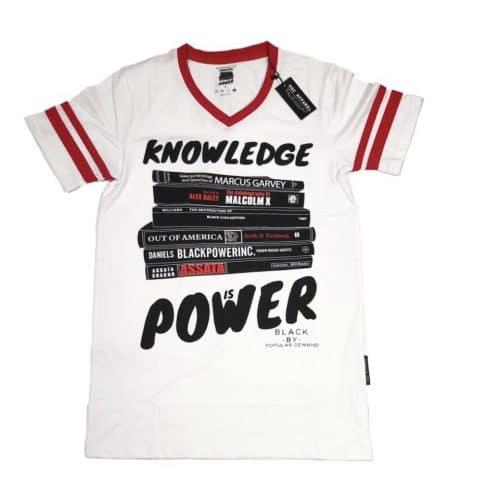 KNOWLEDGE IS POWER® White Unisex V-Neck Shirt HGC Apparel