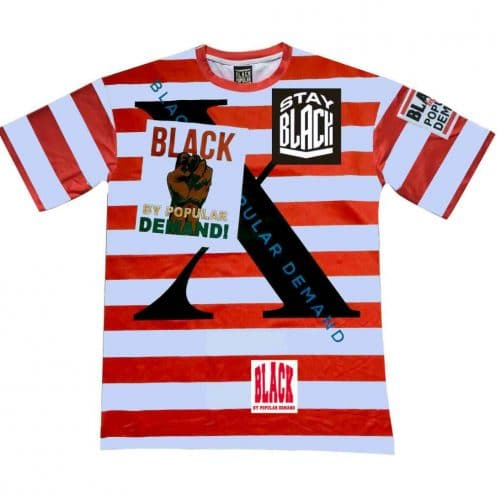 Black By Popular Demand® Red Unisex Stripe Stay Black Shirt HGC Apparel