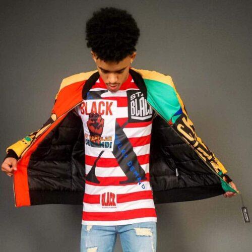 Black By Popular Demand® Red Unisex Stripe Stay Black Shirt HGC Apparel
