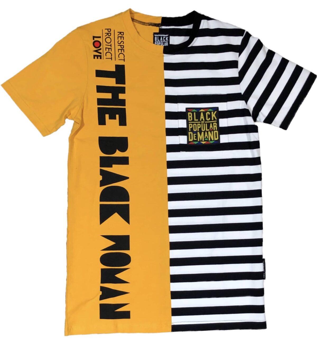 Respect Protect Love The Black Woman® Unisex Split Striped Shirt HGC Apparel