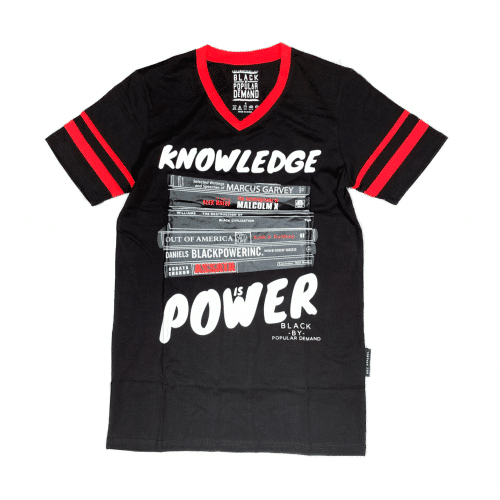 KNOWLEDGE IS POWER® Black Unisex V-Neck Shirt HGC Apparel