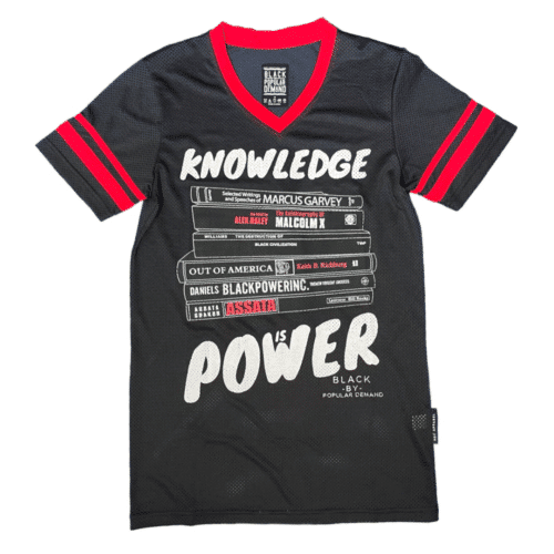 KNOWLEDGE IS POWER® Black Unisex V-Neck Jersey Shirt HGC Apparel