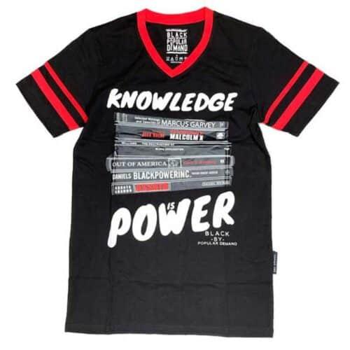 Knowledge is Power® Black Unisex V-Neck Jersey Shirt HGC Apparel