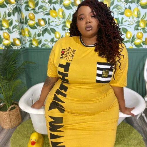 Respect Protect Love The Black Woman® Women's Yellow Striped Pocket Shirt Dress HGC Apparel