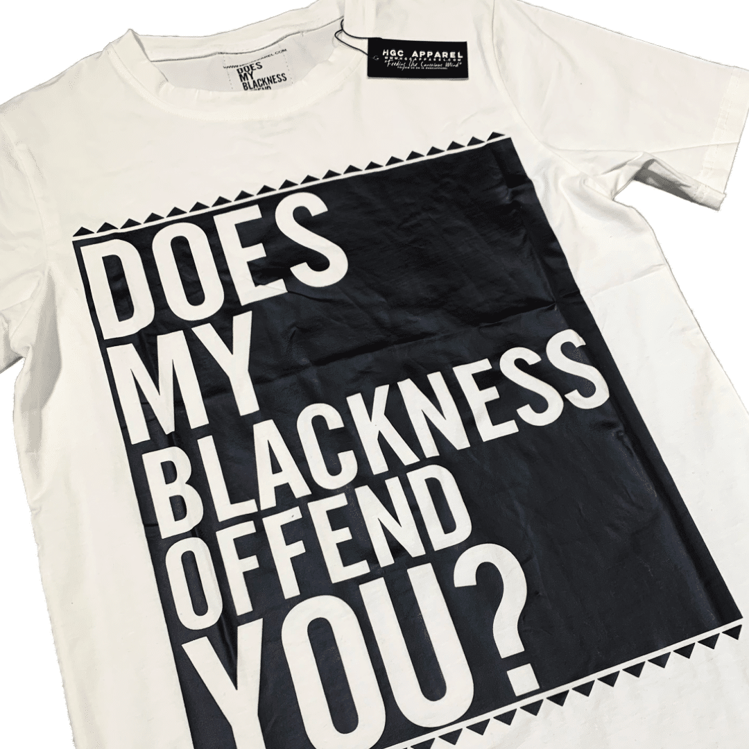 Does My Blackness Offend You® Unisex White Shirt HGC Apparel