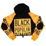 Black by Popular Demand® Black & Yellow Women's Crop Hoodie Sweatshirt
