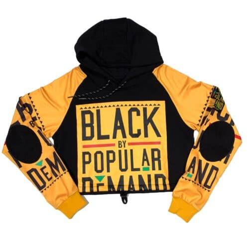 Black by Popular Demand® Black & Yellow Women's Crop Hoodie Sweatshirt HGC Apparel