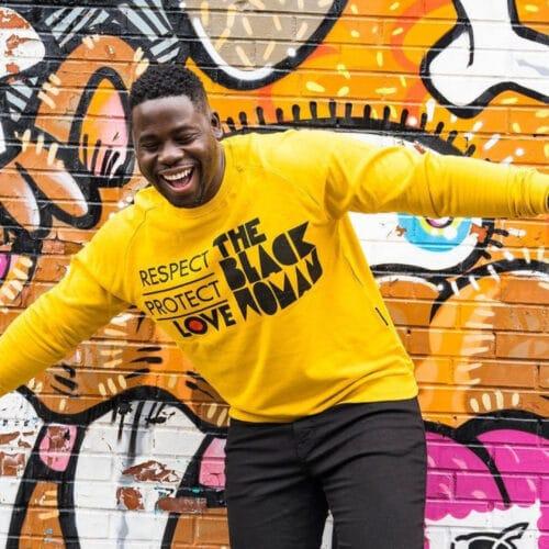 Respect Protect Love The Black Woman® Yellow Unisex Crewneck Sweatshirt HGC Apparel
