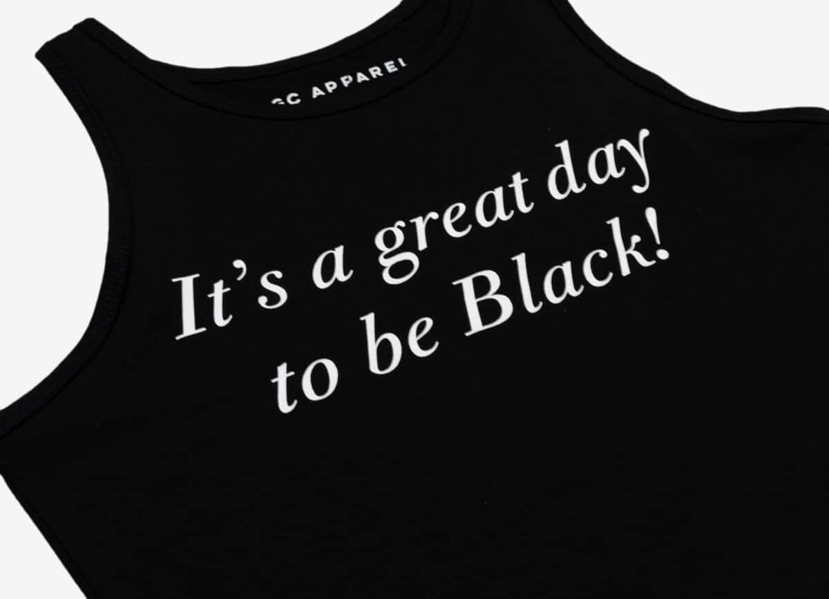 It's A Great Day To Be Black® Women's Black Crop Tank HGC Apparel
