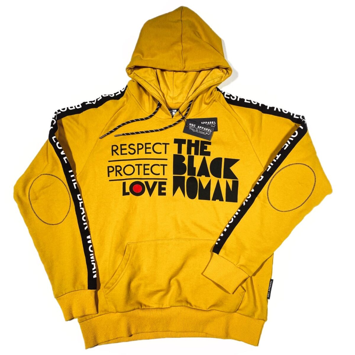 Respect Protect Love The Black Woman® Yellow Unisex Hoodie Sweatshirt HGC Apparel