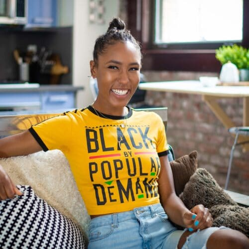 Black by Popular Demand® Women's Yellow Classic Crop Shirt HGC Apparel