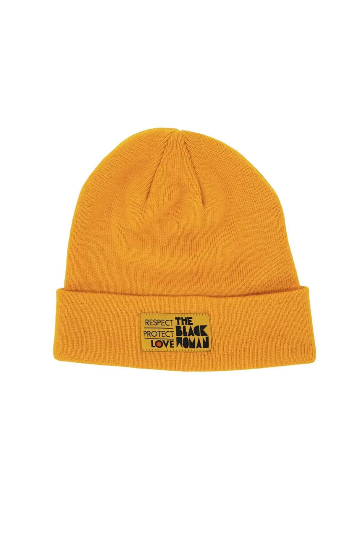 Respect Protect Love The Black Woman® Yellow Unisex Beanie Hat HGC Apparel