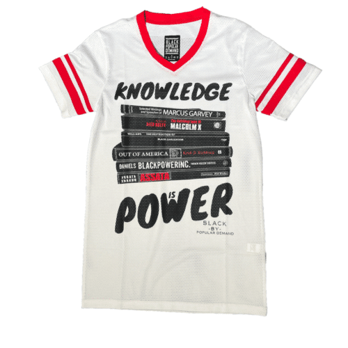 KNOWLEDGE IS POWER® White Unisex V-Neck Jersey Shirt HGC Apparel