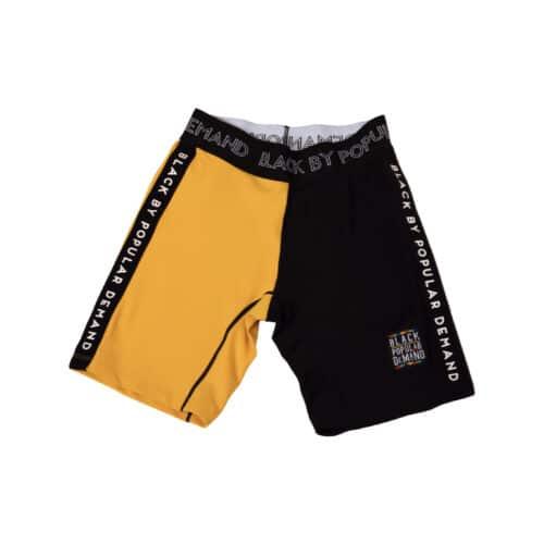 Black by Popular Demand® Black & Yellow Split Biker Shorts HGC Apparel