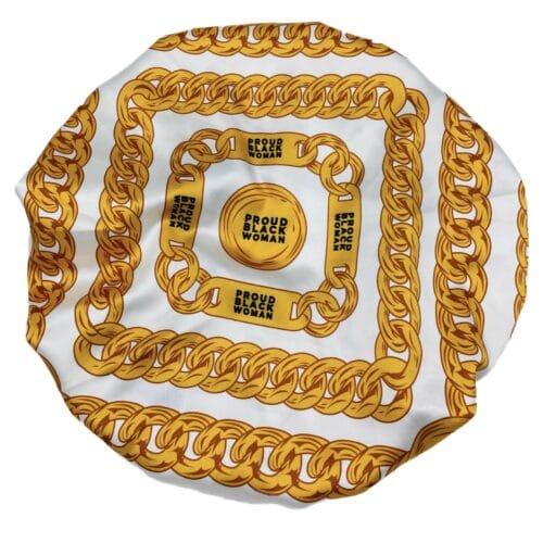 Proud Black Woman® White Satin Chain Bonnet HGC Apparel