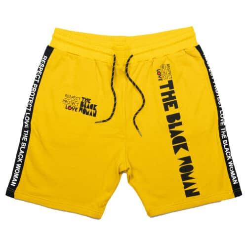 Respect Protect Love The Black Woman® Unisex Yellow Jogger Shorts HGC Apparel