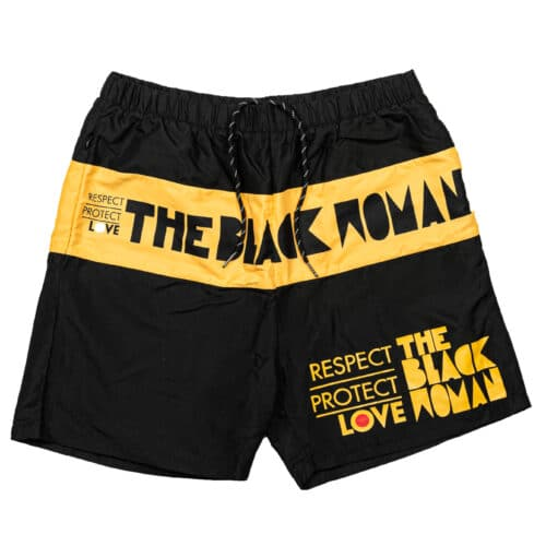 Respect Protect Love The Black Woman® Unisex Black & Yellow Board Shorts HGC Apparel