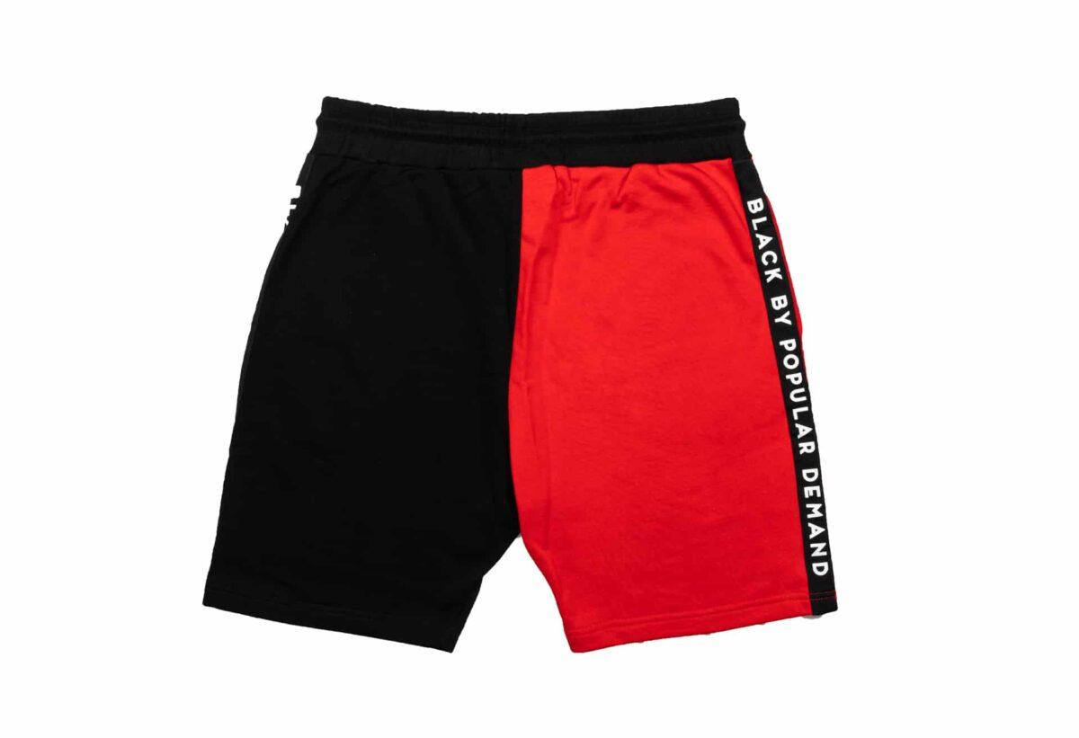 Black by Popular Demand® Black & Red Split Jogger Shorts HGC Apparel
