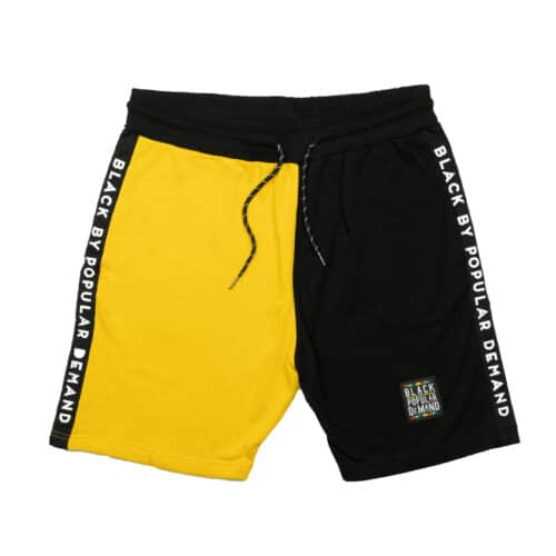 Black by Popular Demand® Black & Yellow Split Jogger Shorts HGC Apparel