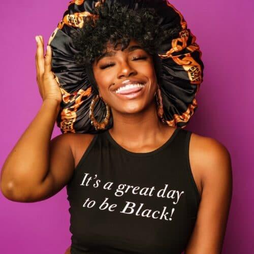 Proud Black Woman® Black Satin Chain Bonnet HGC Apparel