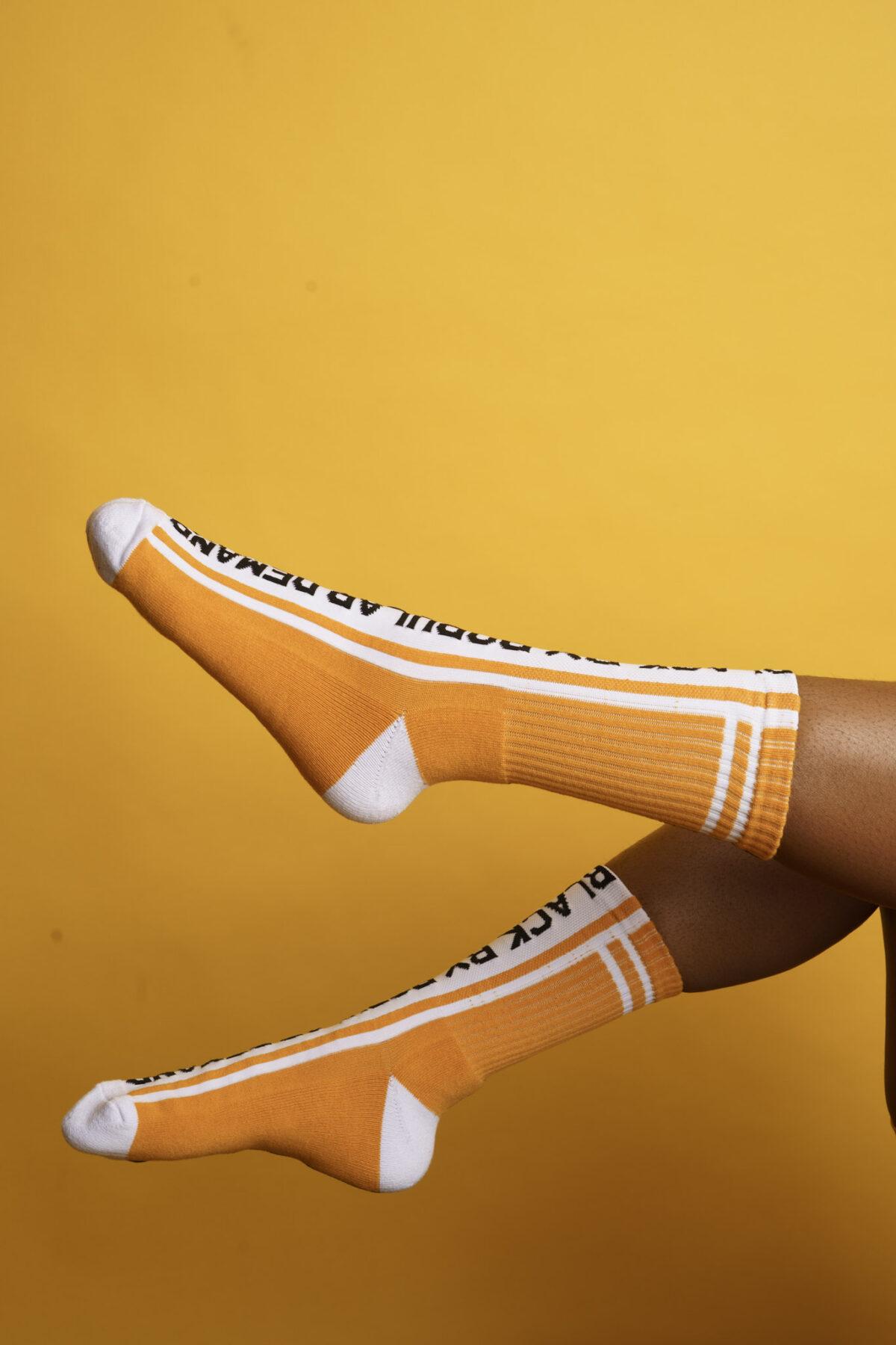 Black by Popular Demand® Black & Yellow Split Socks HGC Apparel