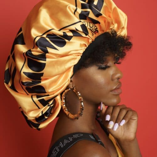 Respect Protect Love The Black Woman® Yellow Satin Bonnet HGC Apparel
