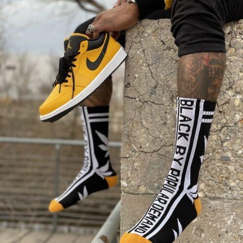 Black by Popular Demand® Black & Yellow Leaf Socks HGC Apparel