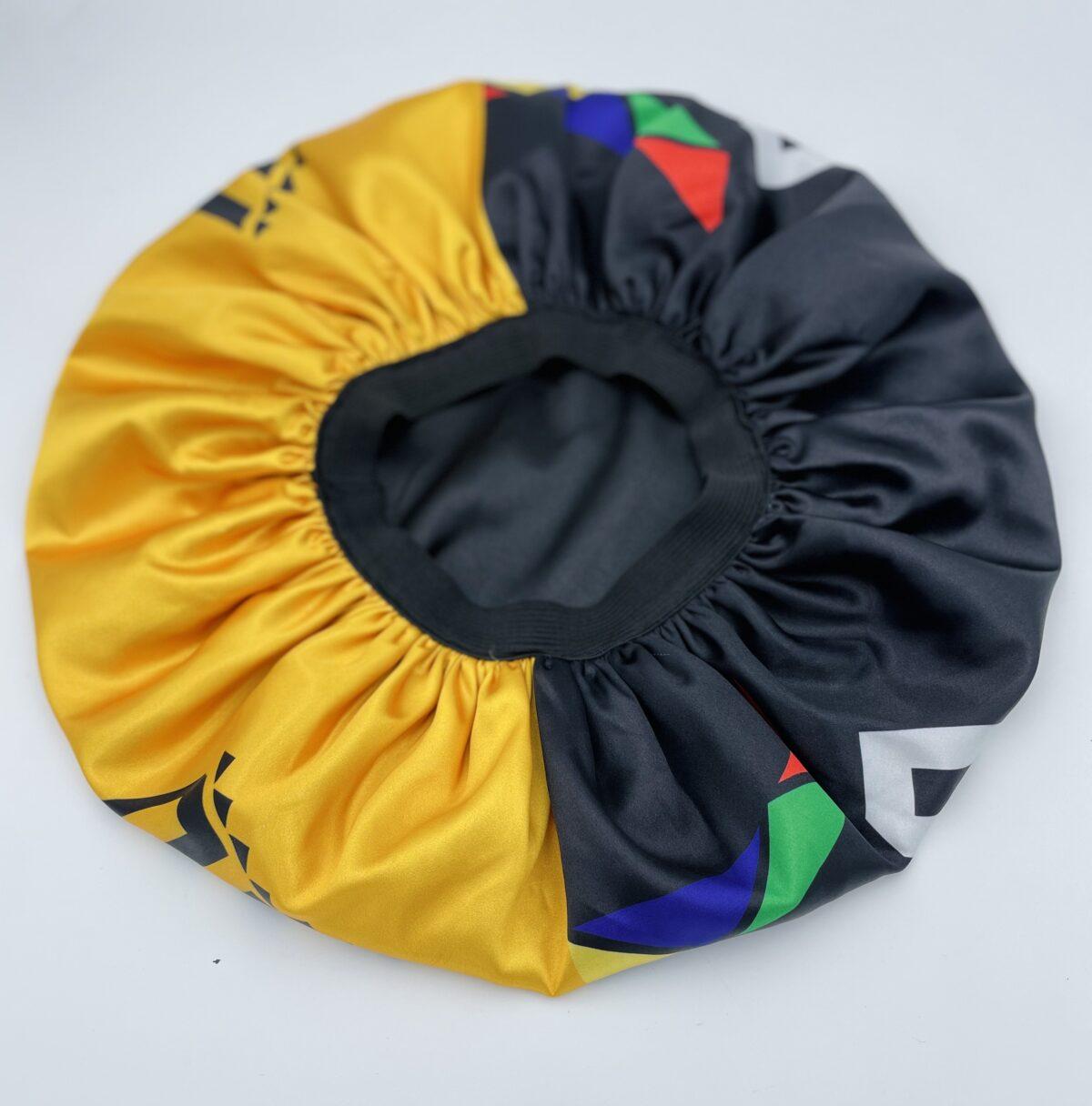 Black by Popular Demand® Black & Yellow Split Satin Bonnet HGC Apparel